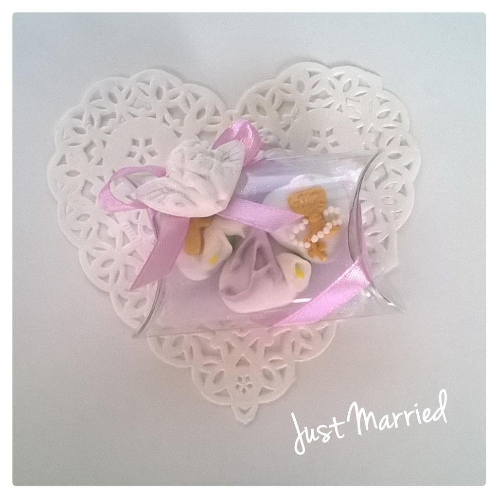 confettata prima comunione in lilla, confetti decorati con gessetto profumato