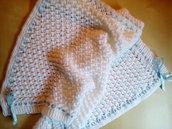 copertina lana neonato ai ferri lavorata a mano per nascita colore bianco - idea regalo battesimo - corredino neonato