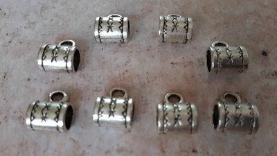 8 Charms cilindrico foro largo porta ciondolo in argento tibetano