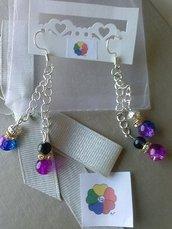 ORECCHINI LUNGHI ARGENTATI *ROSA FUCSIA E BLU FUCSIA* con perle di  vetro