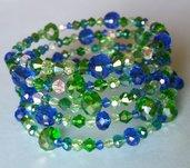 Bracciale memory wire cristalli verdi e blu con orecchini abbinati
