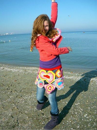 Freeform crochet skirt Beautiful Rainbow