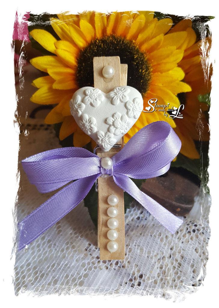 Segnaposto molletta per matrimonio/anniversario con cuore in gesso ceramico