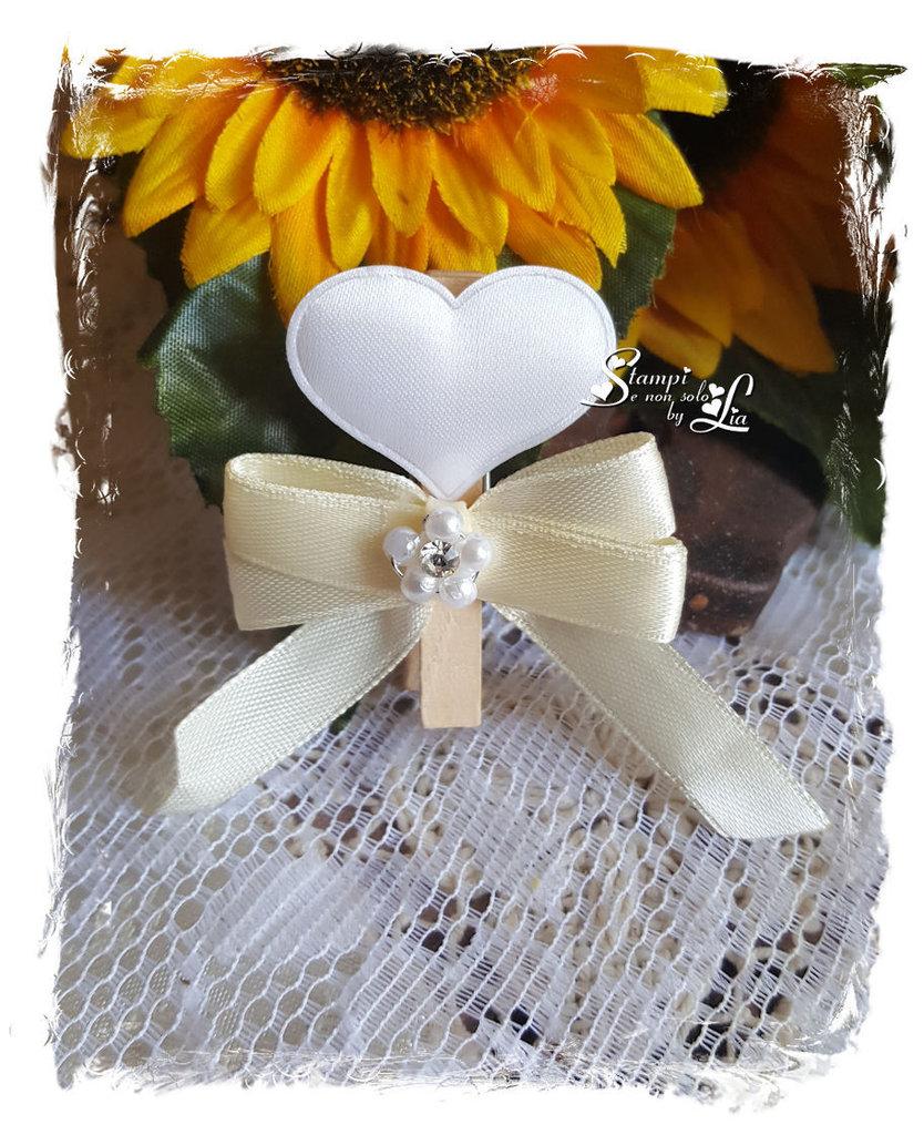 3 pezzi Segnaposto matrimonio/anniversario con cuore in raso