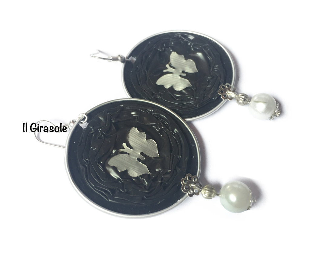 Orecchini cialde capsule di caffè con farfalla e perla bianca pendenti lunghi