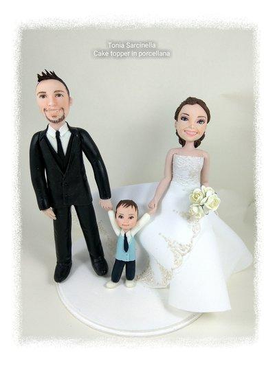 Cake topper personalizzato sposi con bimbo