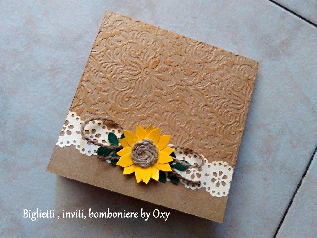 Partecipazione / Matrimonio/ Rustico / girasole / marrone craft