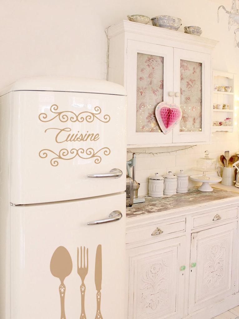 """Adesivo per frigo modello """"Cuisine con posate intarsiate"""""""