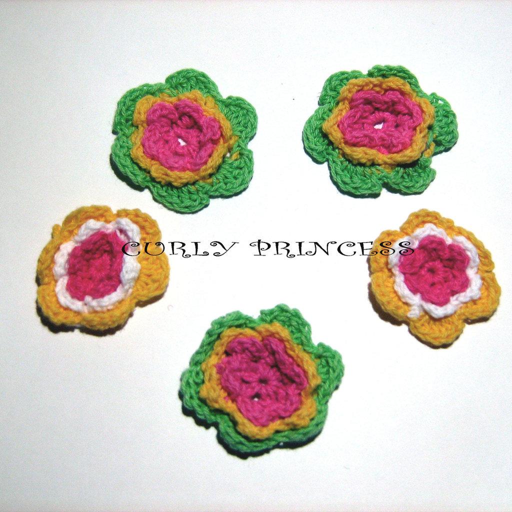 5 pz. fiore uncinetto - crochet  flower