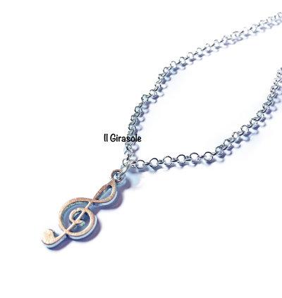 Collana chiave di violino in argento tibetano a girocollo