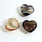 Tris di cuori in vetro di Murano