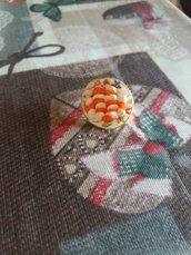 Anello regolabile pomodoro e mozzarella in fimo