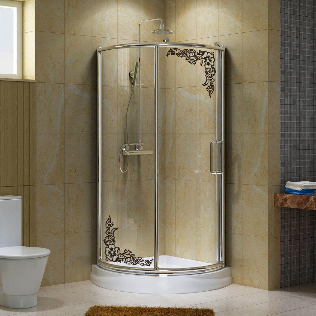 Coppia di adesivi modello fiore angolare per doccia for Adesivi per box doccia