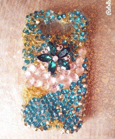 cover samsung s 3 fiore swarosvki  verde :-)