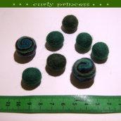 lotto 8 palline in lana cotta e feltro VERDE BLU 2 misure