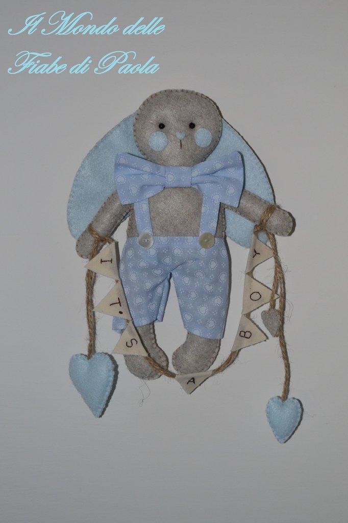 Coniglietto in pannolenci annuncio nascita