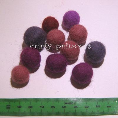 lotto 11 palline in lana cotta varie misure - tonalità VIOLA