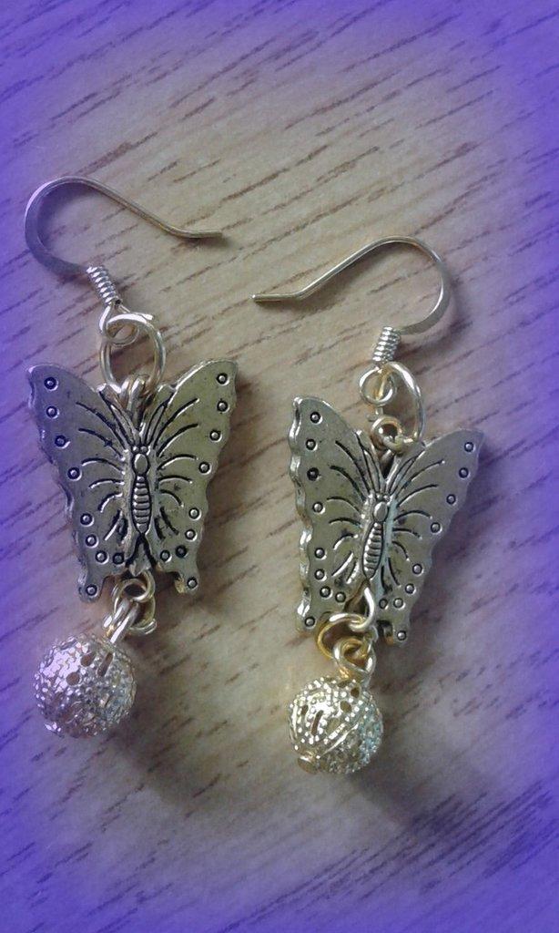 Orecchini farfalla in metallo dorato