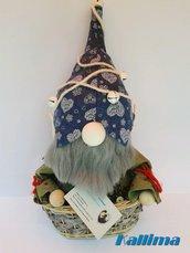 GNOMO in pannolenci e lana fatto a mano: GNOMETTO NEL CESTINO