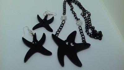 stelle marine in plexiglass nero collana e orecchini