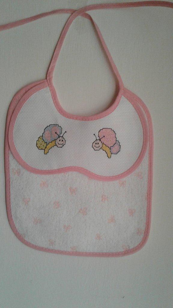 bavaglino rosa con farfalle