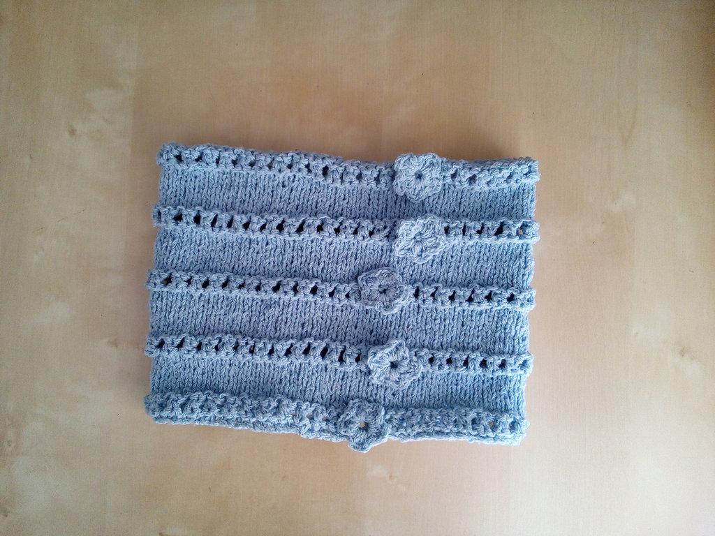 nuovo arrivo 76297 273df scaldacollo collo in lana ai ferri per bambina celeste azzurro fiori  uncinetto
