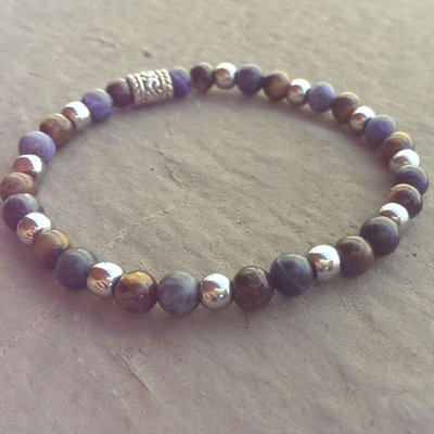 Bracciale pietre dure naturali ematite sodalite occhio tigre mix braccialetto elastico stone bracelet man semiprecious woman gift elegance