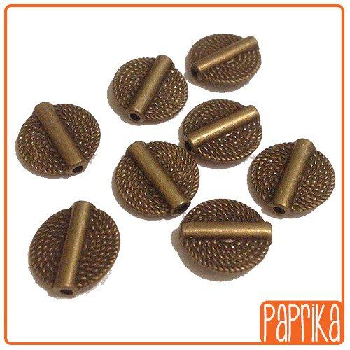 8 Perle spaziatrici a disco - Bronzo 15mm