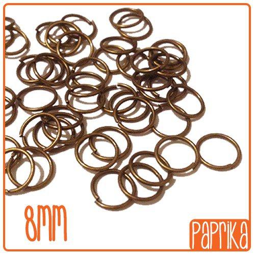 100 anellini bronzo apribili 8mm