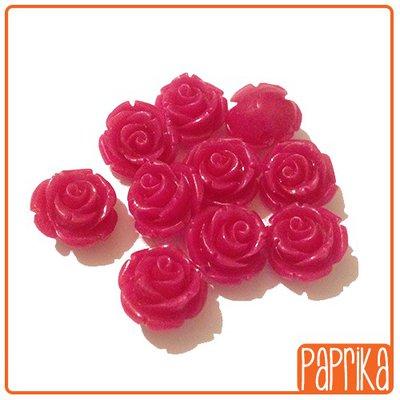 Perlina Rosa forata 12mm Fuchsia