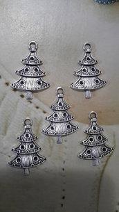 5 CHARMS CIONDOLI ALBERO NATALE in argento tibetano