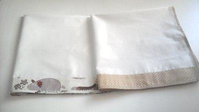 set nascita, coppia quadrati in mussola di cotone bianco e beige