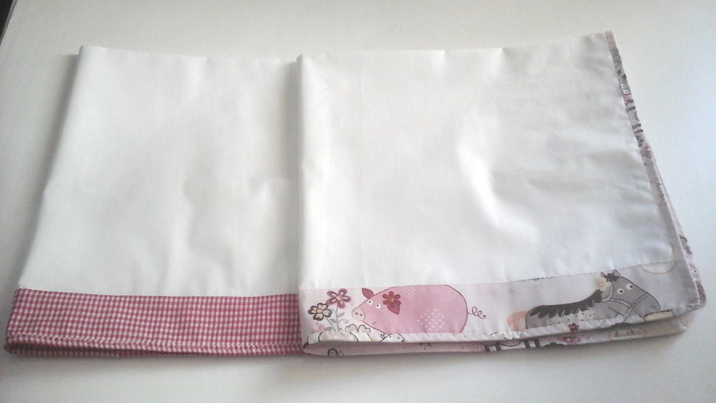 set nascita, coppia quadrati in mussola di cotone bianco e rosa