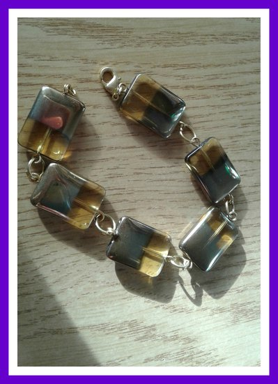 Bracciale perle quadrate vetro giallo