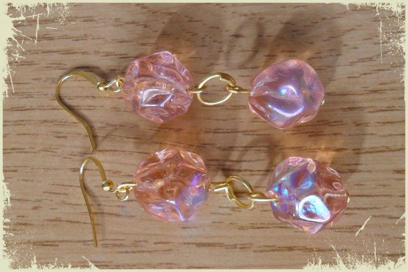 Orecchini perle grandi rosa sfaccettate