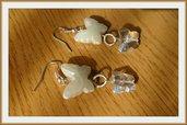 Orecchini farfalla bianca e trasparente
