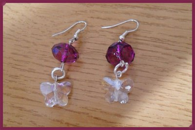 Orecchini farfalla e perla viola