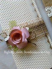 Partecipazionre / Matrimonio / Rustico / Shabby  chic / rose .