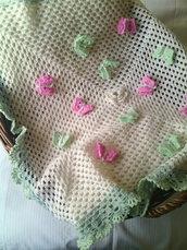 copertina uncinetto pura lana merino neonata - regalo nascita battesimo - coperta culla e carrozzina farfalle