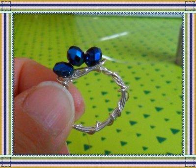 Anello per ragazzina alluminio e perline blu elettrico