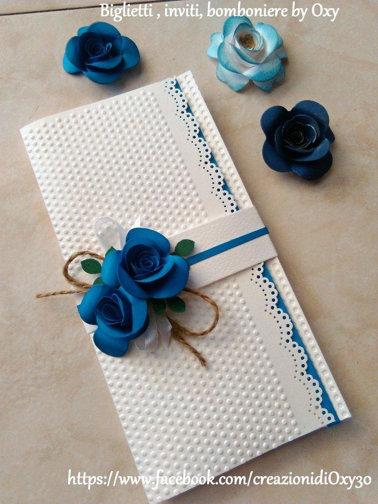 Partecipazionre / Matrimonio  / Shabby  chic / rose  / blu.