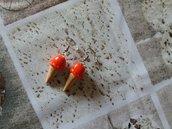 Orecchini pendenti gelato alla fragola in fimo