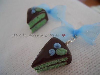 Orecchini torta cioccolato menta!