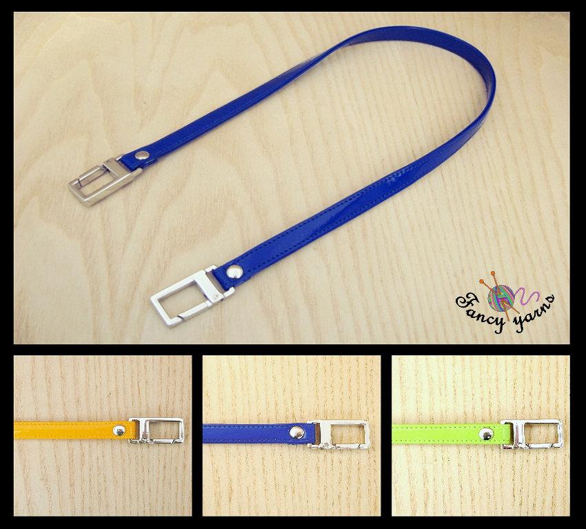 Manico per borsa 50 cm, doppia similpelle lucida impunturata, 3 nuovi colori a scelta