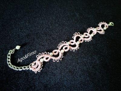 Braccialetto pizzo chiacchierino rosa con perline