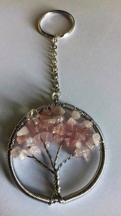 Portachiavi ciondolo albero della vita in vero quarzo rosa pietra dura naturale cristalloterapia