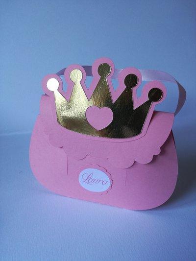 2 scatoline porta confetti segnaposto bomboniera corona nome principessa
