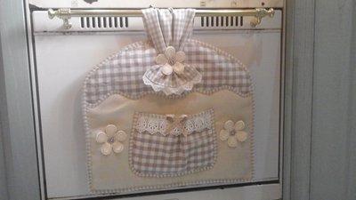 copriforno country per forno con maniglia stretta in beige e avorio