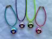 Collanine e braccialetti con gufetti fimo