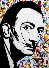Ritratto Salvador Dalì dipinto a mano pop art